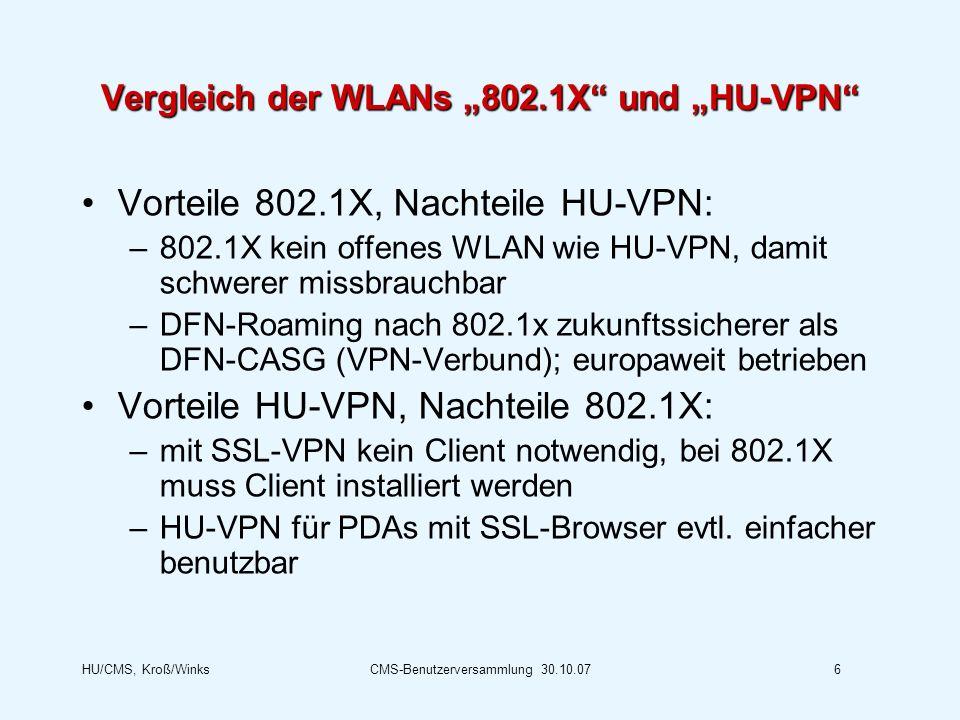 """Vergleich der WLANs """"802.1X und """"HU-VPN"""