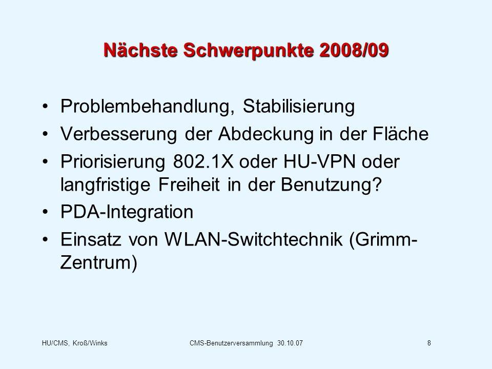 Nächste Schwerpunkte 2008/09