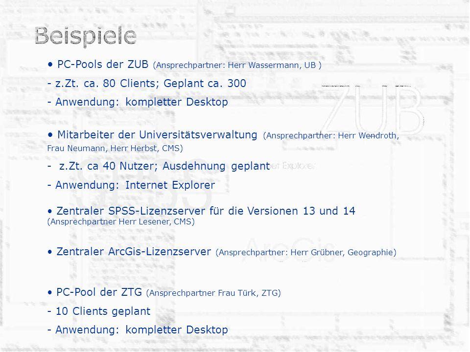 PC-Pools der ZUB (Ansprechpartner: Herr Wassermann, UB )