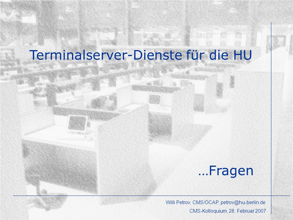 Terminalserver-Dienste für die HU