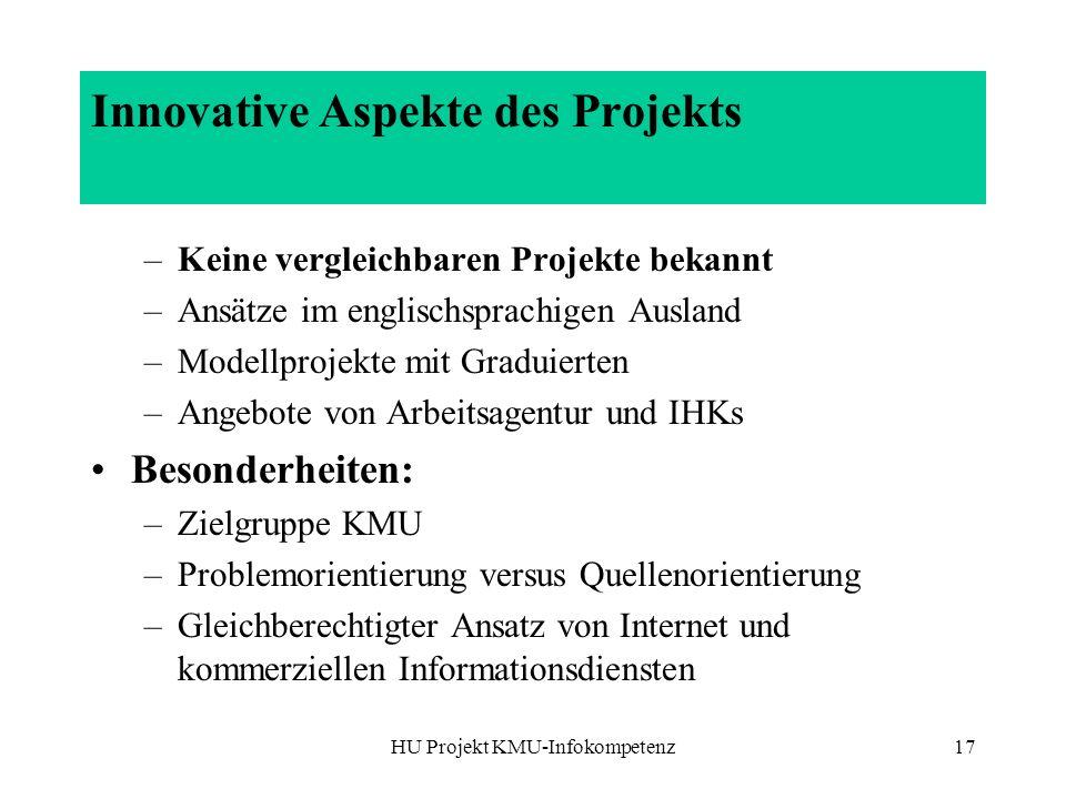 Innovative Aspekte des Projekts