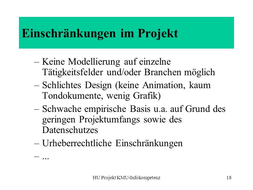 Einschränkungen im Projekt