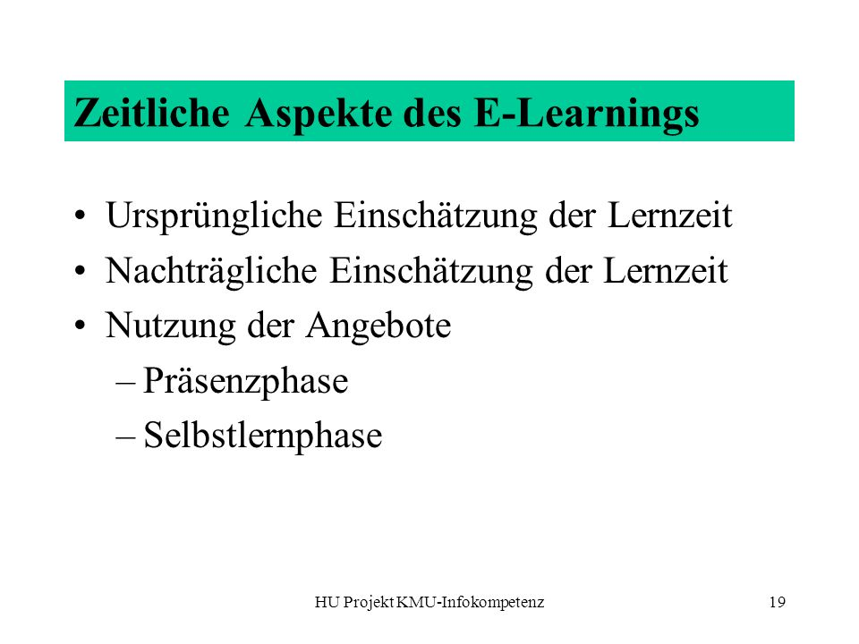 Zeitliche Aspekte des E-Learnings