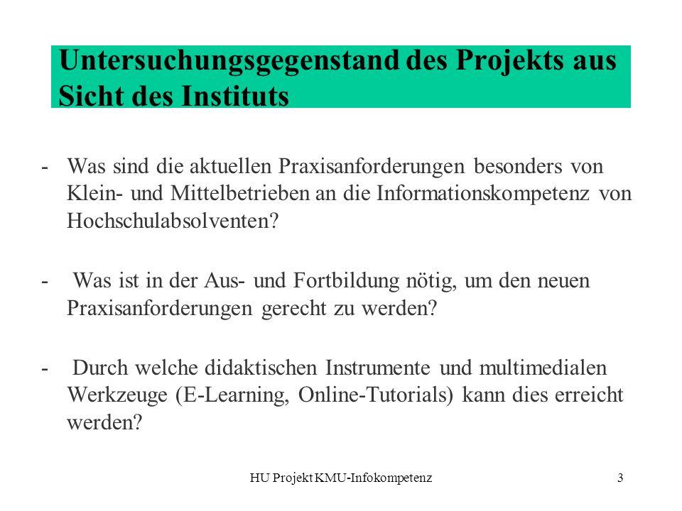 Untersuchungsgegenstand des Projekts aus Sicht des Instituts