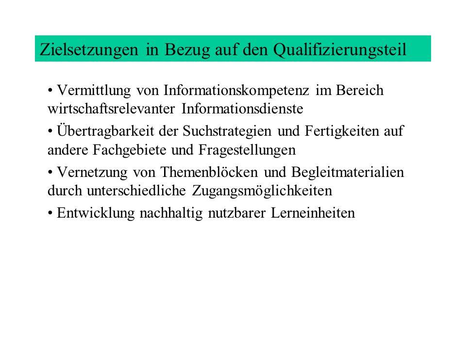 Zielsetzungen in Bezug auf den Qualifizierungsteil
