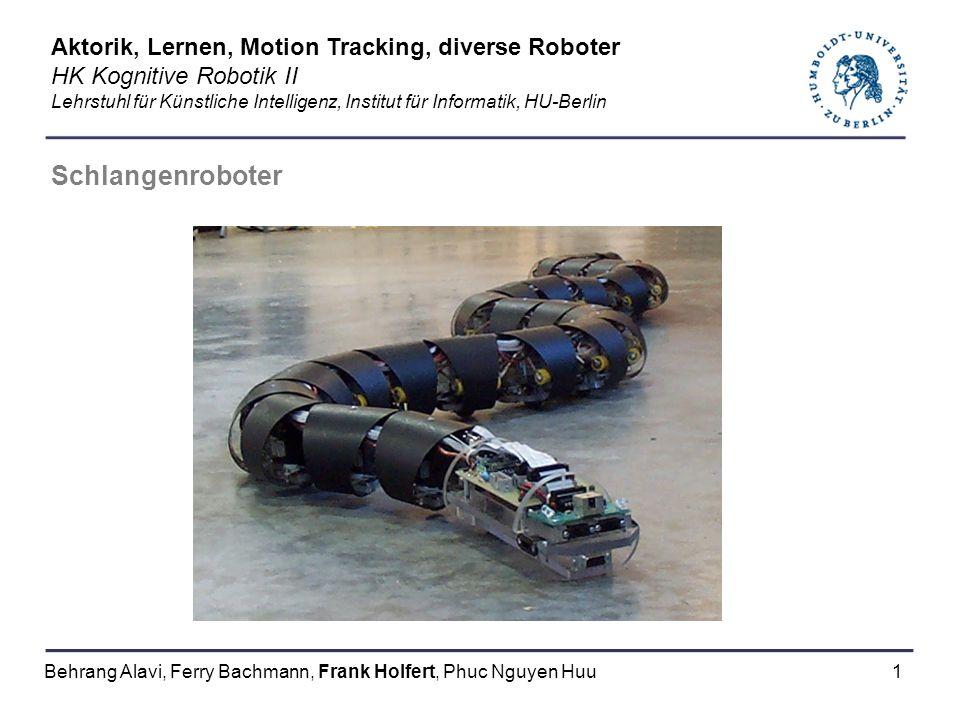 Schlangenroboter Aktorik, Lernen, Motion Tracking, diverse Roboter
