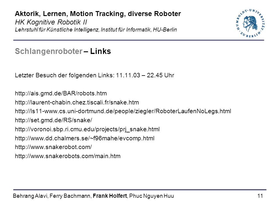 Schlangenroboter – Links