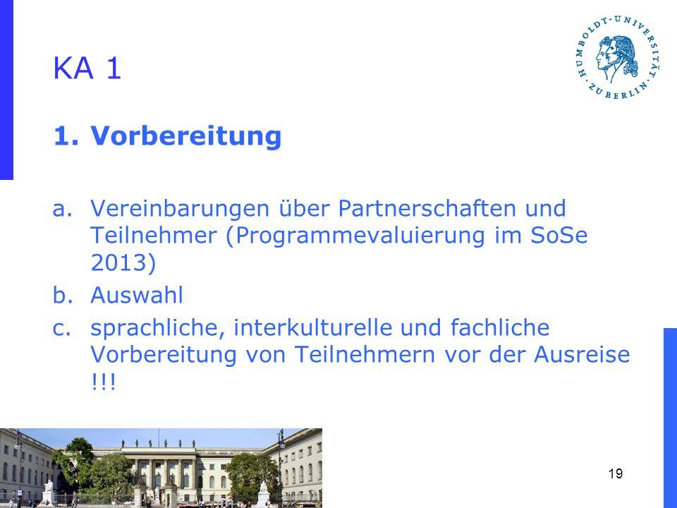 KA 1 Vorbereitung. Vereinbarungen über Partnerschaften und Teilnehmer (Programmevaluierung im SoSe 2013)
