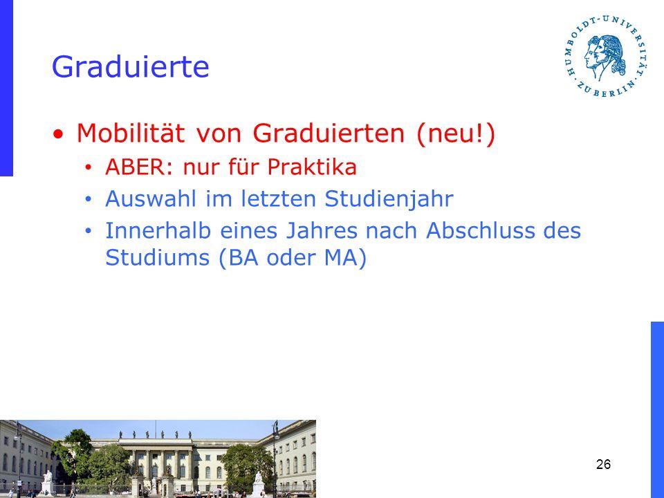 Graduierte Mobilität von Graduierten (neu!) ABER: nur für Praktika