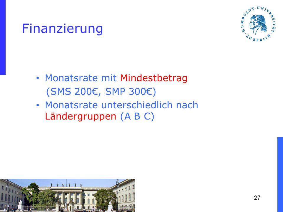 Finanzierung Monatsrate mit Mindestbetrag (SMS 200€, SMP 300€)