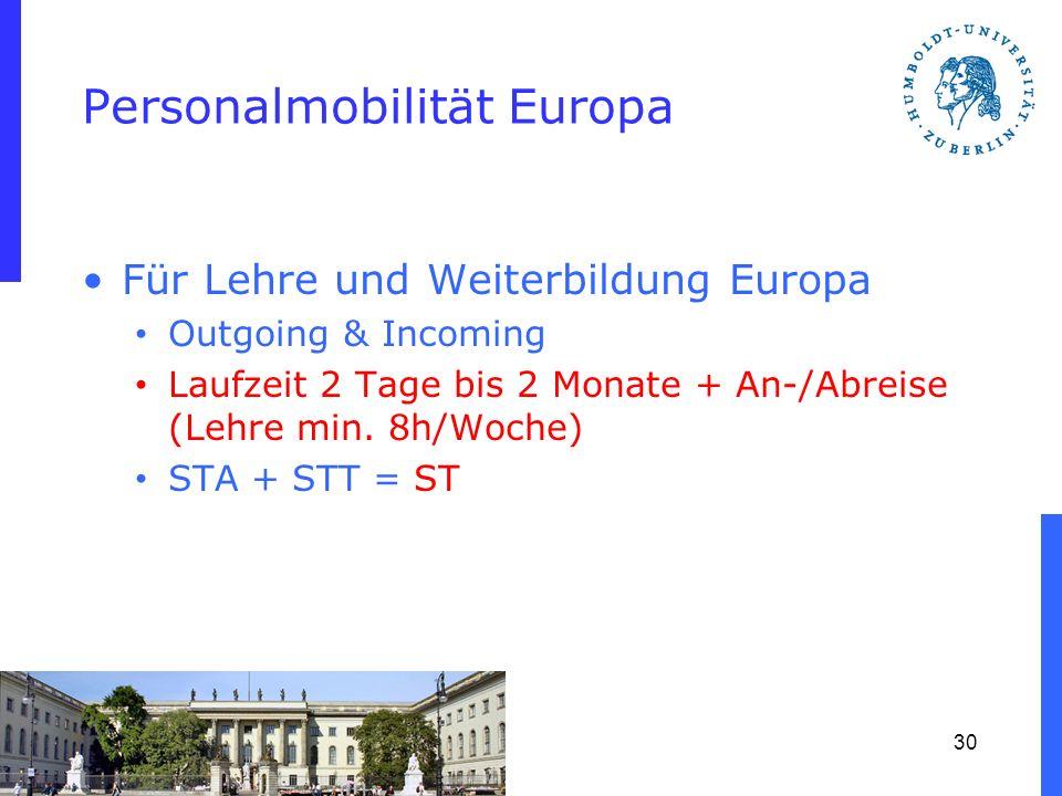 Personalmobilität Europa