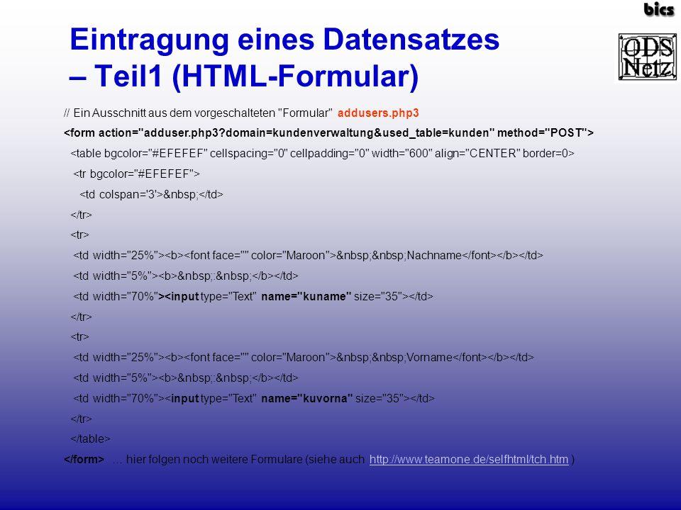 Eintragung eines Datensatzes – Teil1 (HTML-Formular)