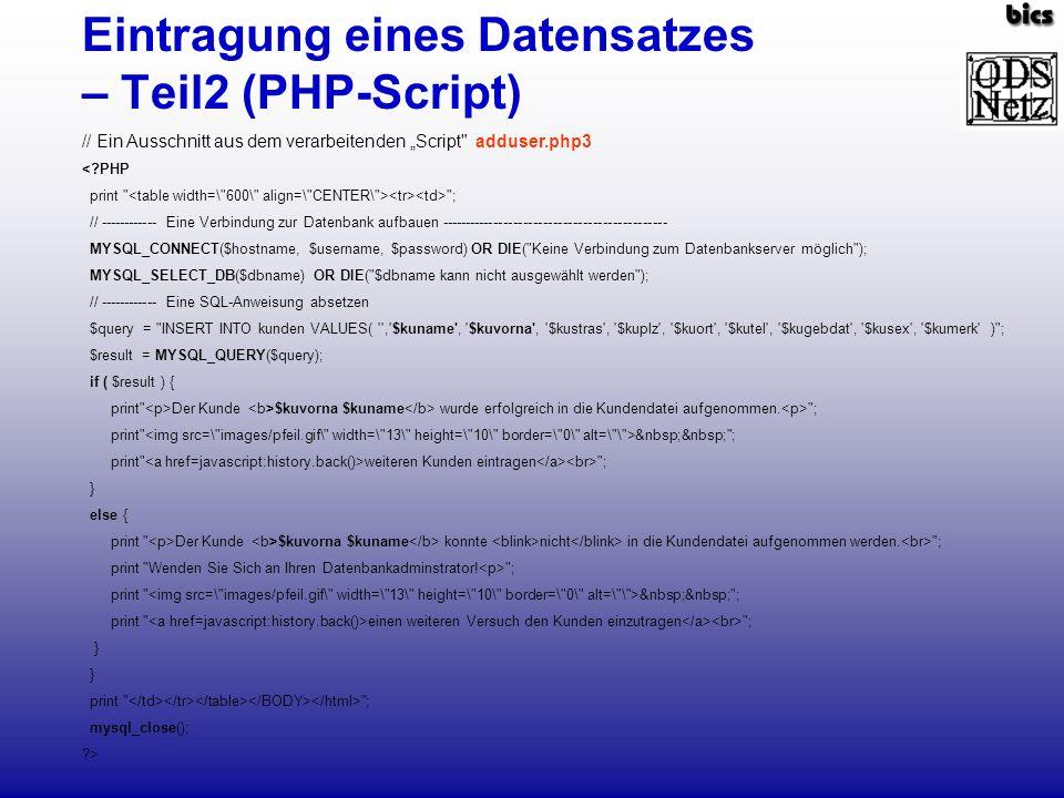 Eintragung eines Datensatzes – Teil2 (PHP-Script)