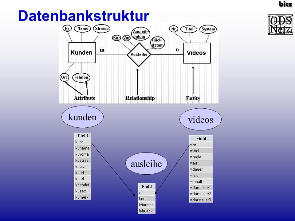 Datenbankstruktur kunden videos ausleihe