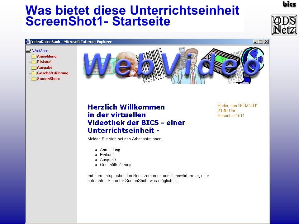 Was bietet diese Unterrichtseinheit ScreenShot1- Startseite