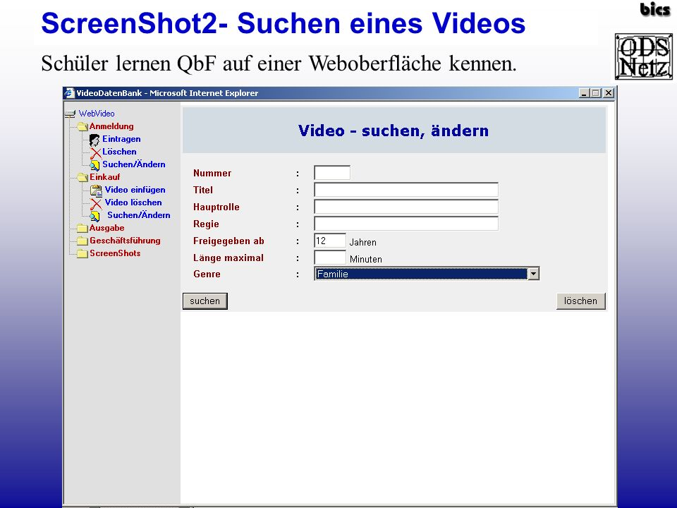 ScreenShot2- Suchen eines Videos