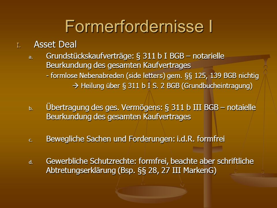 Formerfordernisse I Asset Deal