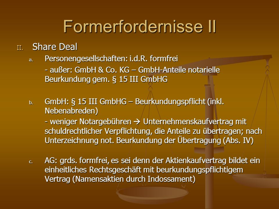 Formerfordernisse II Share Deal