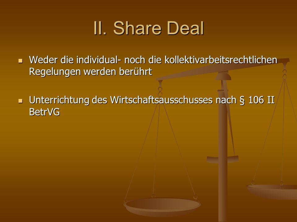 II. Share Deal Weder die individual- noch die kollektivarbeitsrechtlichen Regelungen werden berührt.