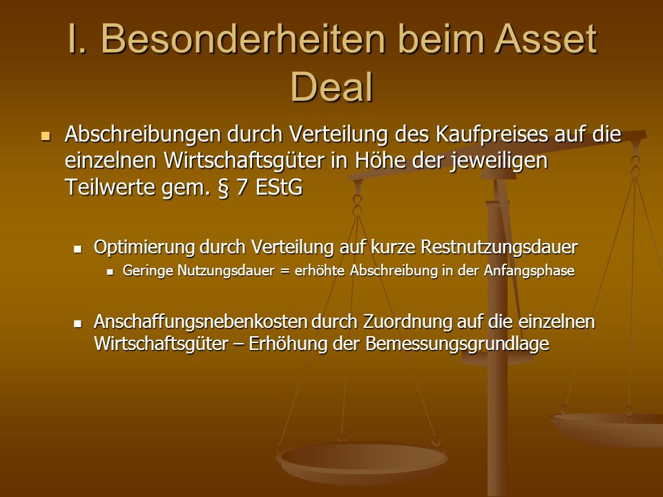 I. Besonderheiten beim Asset Deal