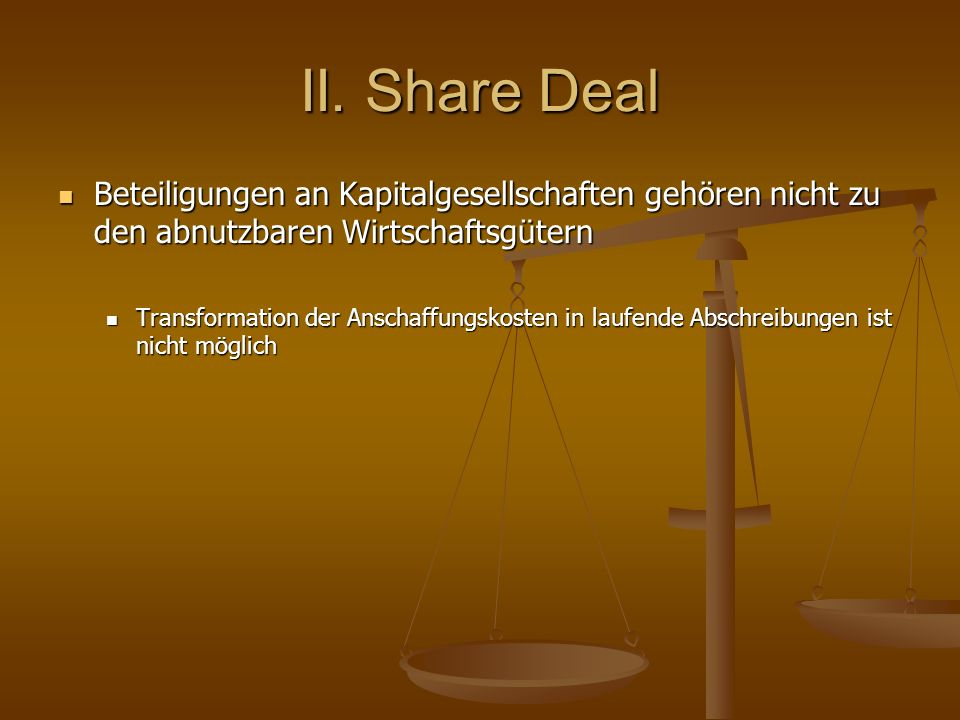 II. Share Deal Beteiligungen an Kapitalgesellschaften gehören nicht zu den abnutzbaren Wirtschaftsgütern.