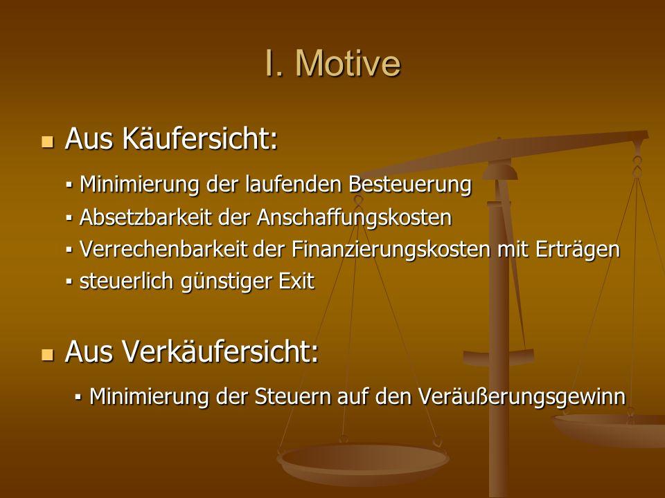 I. Motive Aus Käufersicht: ▪ Minimierung der laufenden Besteuerung