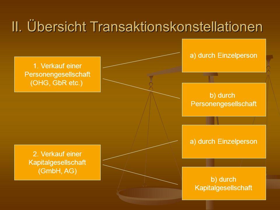II. Übersicht Transaktionskonstellationen