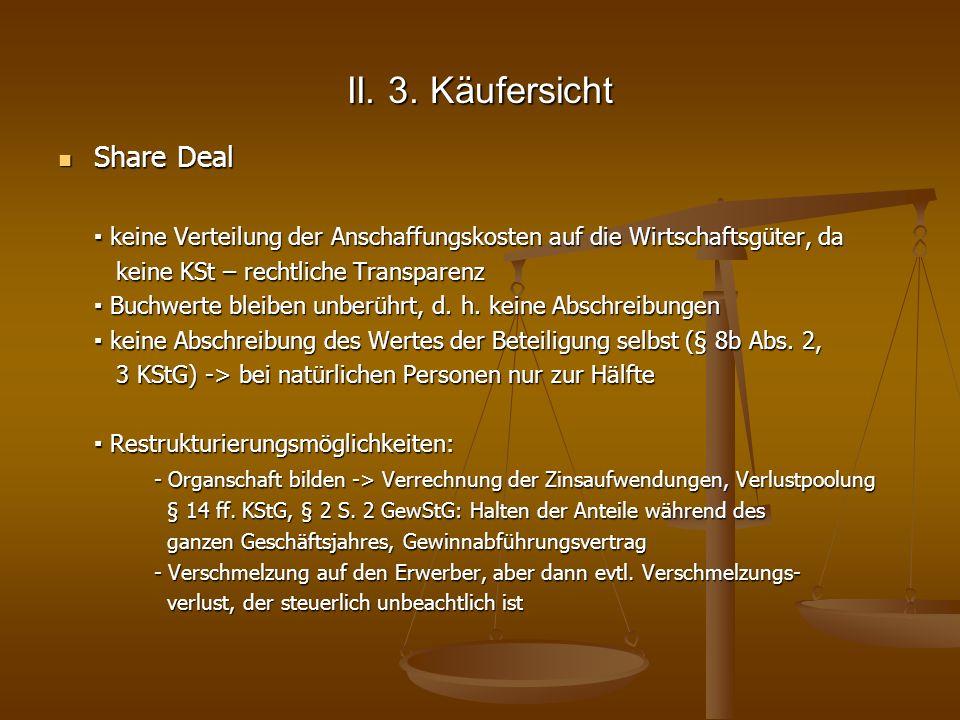 II. 3. Käufersicht Share Deal