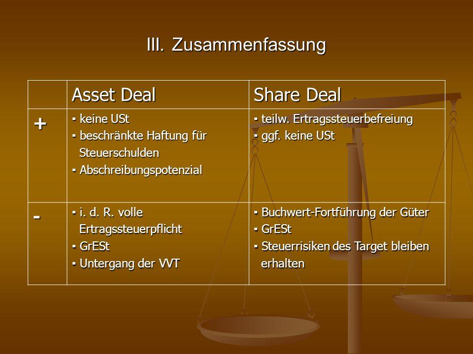 III. Zusammenfassung Asset Deal Share Deal + - ▪ keine USt