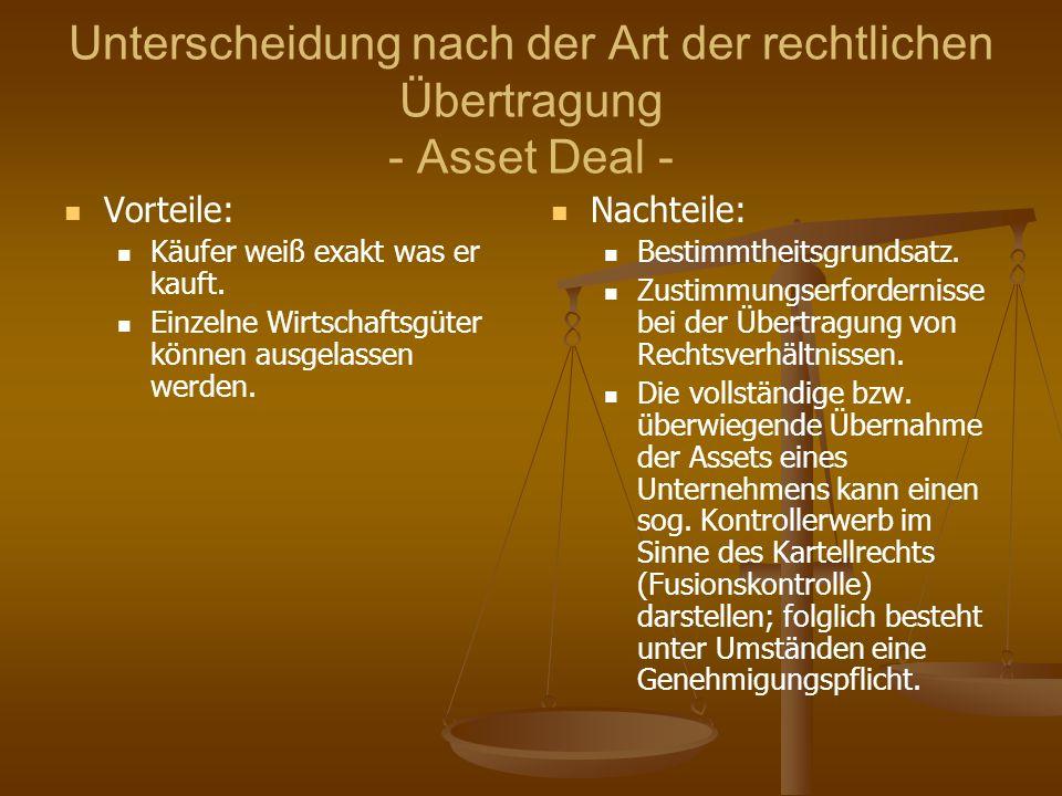 Unterscheidung nach der Art der rechtlichen Übertragung - Asset Deal -