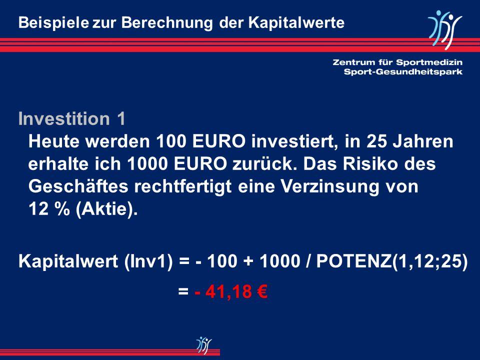 Kapitalwert (Inv1) = - 100 + 1000 / POTENZ(1,12;25) = - 41,18 €