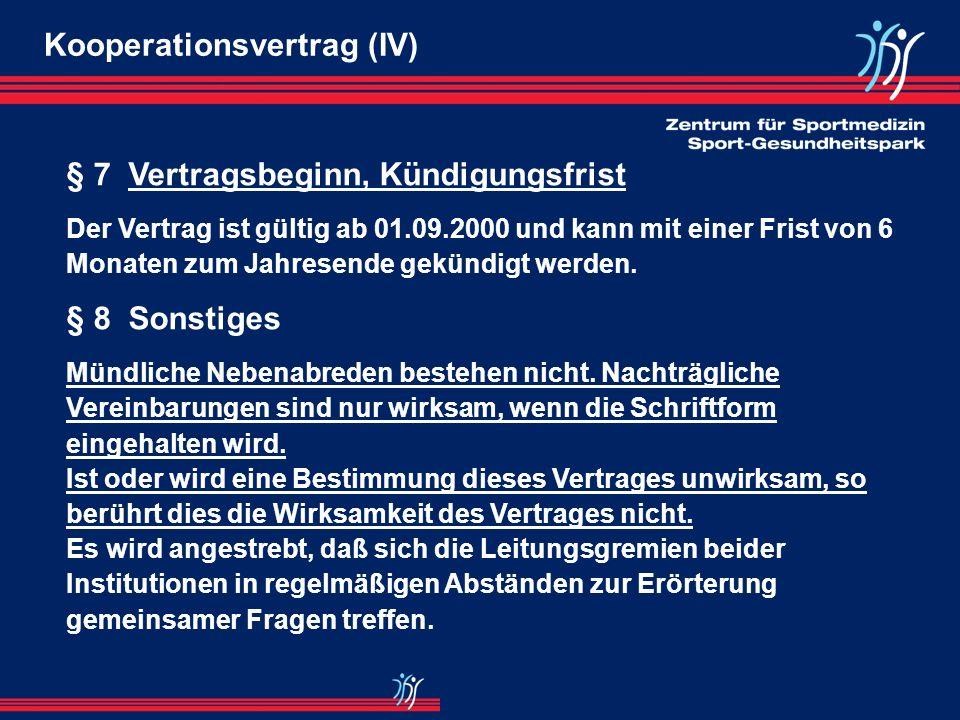 Kooperationsvertrag (IV)