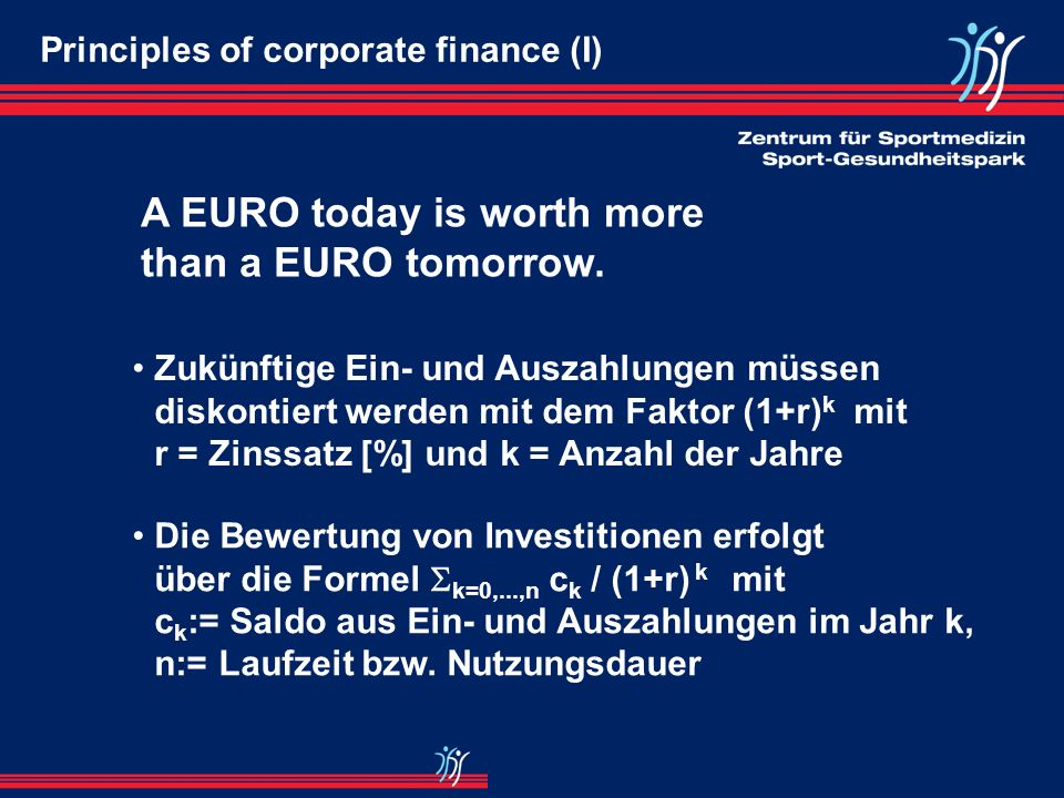 A EURO today is worth more than a EURO tomorrow.