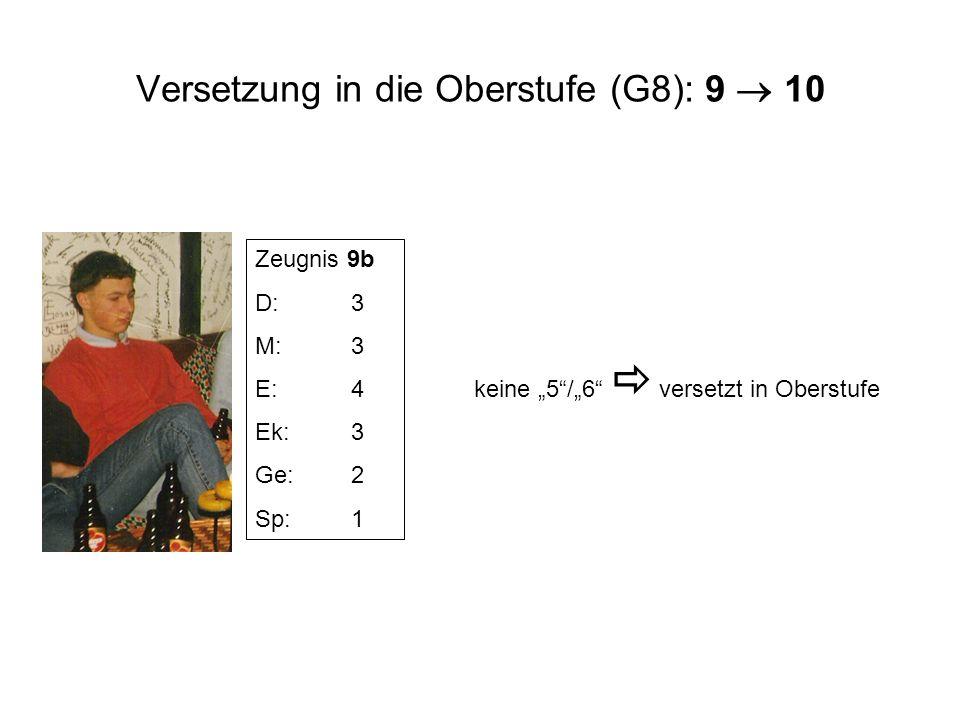 Versetzung in die Oberstufe (G8): 9  10