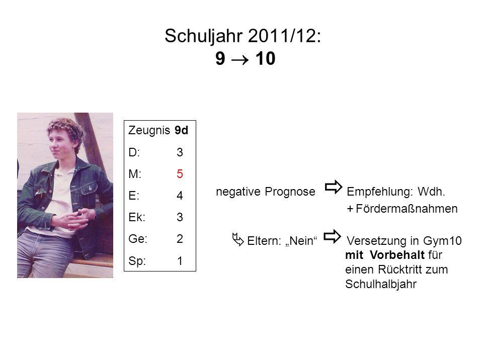 """Schuljahr 2011/12: 9  10  Eltern: """"Nein  Versetzung in Gym10"""