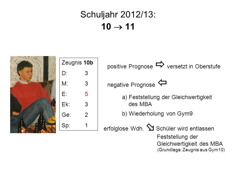 Schuljahr 2012/13: 10  11 positive Prognose  versetzt in Oberstufe