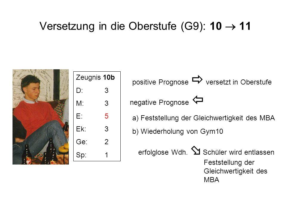 Versetzung in die Oberstufe (G9): 10  11