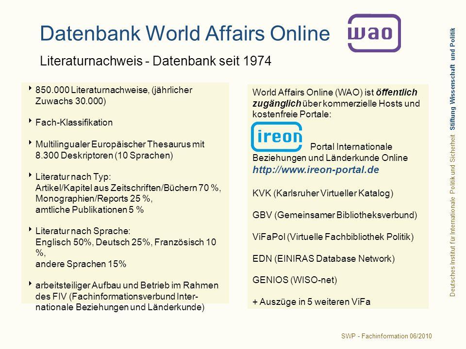 Datenbank World Affairs Online