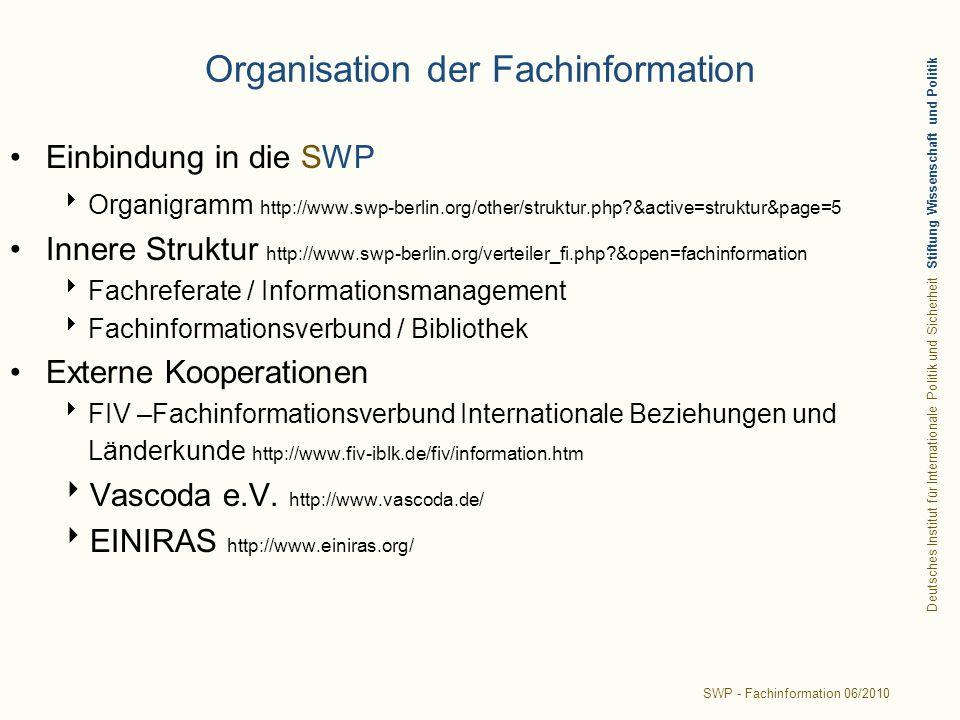 Organisation der Fachinformation