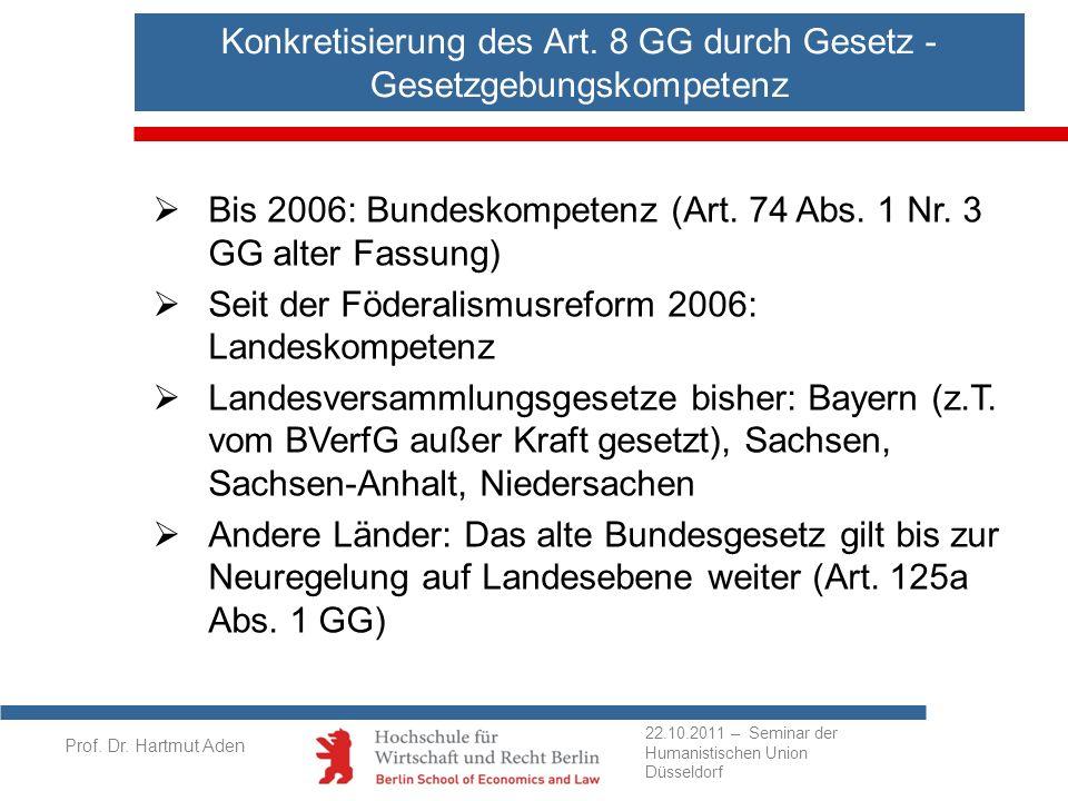 Konkretisierung des Art. 8 GG durch Gesetz - Gesetzgebungskompetenz