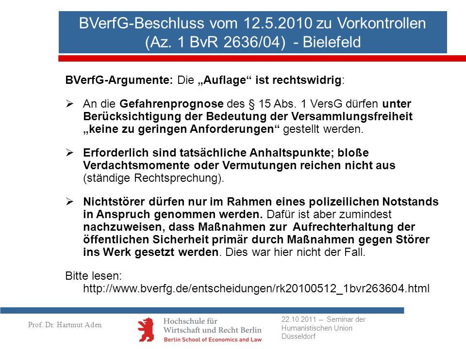 BVerfG-Beschluss vom 12. 5. 2010 zu Vorkontrollen (Az