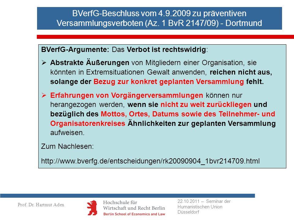 BVerfG-Beschluss vom 4.9.2009 zu präventiven Versammlungsverboten (Az. 1 BvR 2147/09) - Dortmund