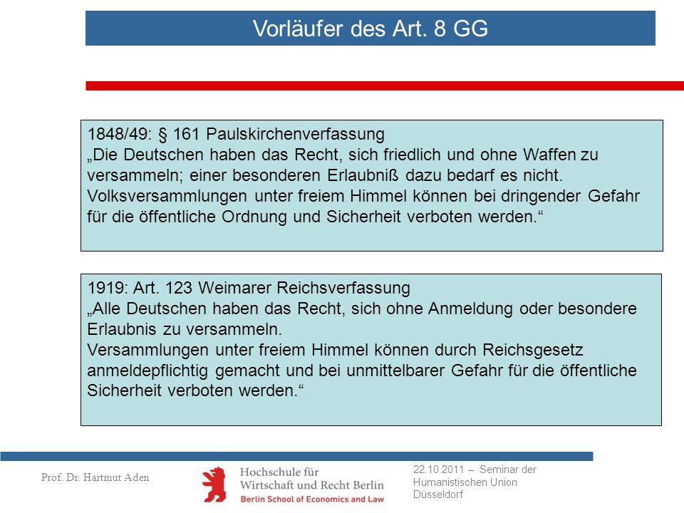 Vorläufer des Art. 8 GG 1848/49: § 161 Paulskirchenverfassung