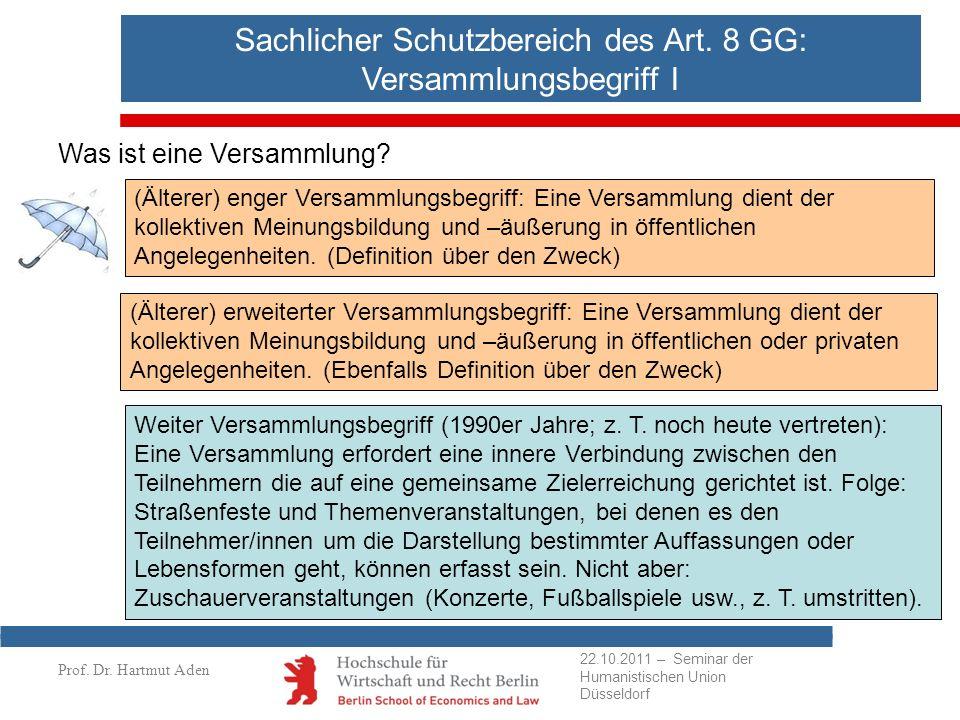 Sachlicher Schutzbereich des Art. 8 GG: Versammlungsbegriff I