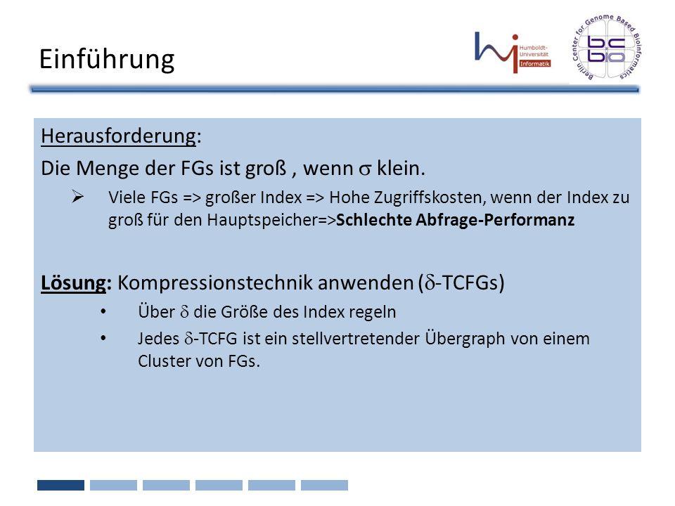 Einführung Herausforderung: Die Menge der FGs ist groß , wenn s klein.