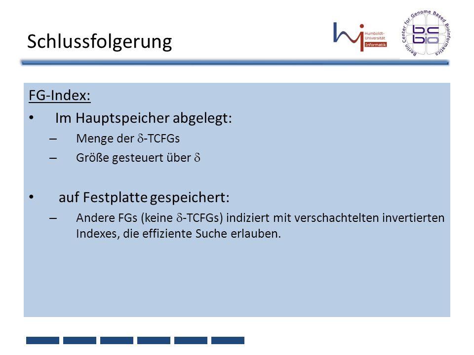 Schlussfolgerung FG-Index: Im Hauptspeicher abgelegt: