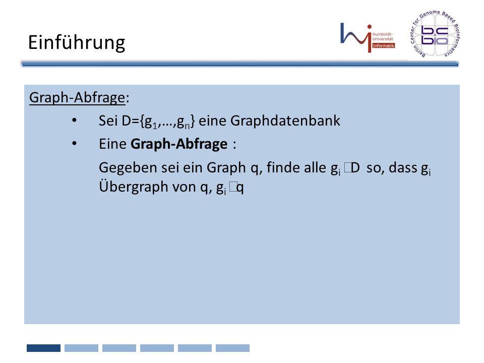 Einführung Graph-Abfrage: Sei D={g1,…,gn} eine Graphdatenbank