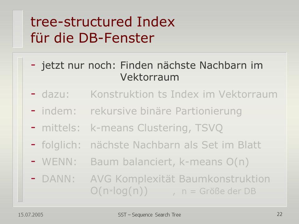 tree-structured Index für die DB-Fenster