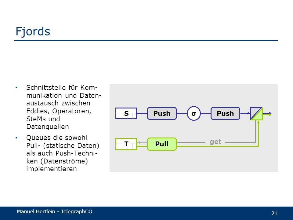 Fjords Schnittstelle für Kom-munikation und Daten-austausch zwischen Eddies, Operatoren, SteMs und Datenquellen.