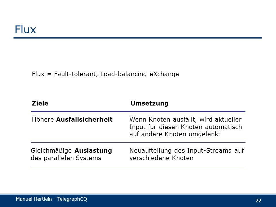 Flux Flux = Fault-tolerant, Load-balancing eXchange Ziele Umsetzung
